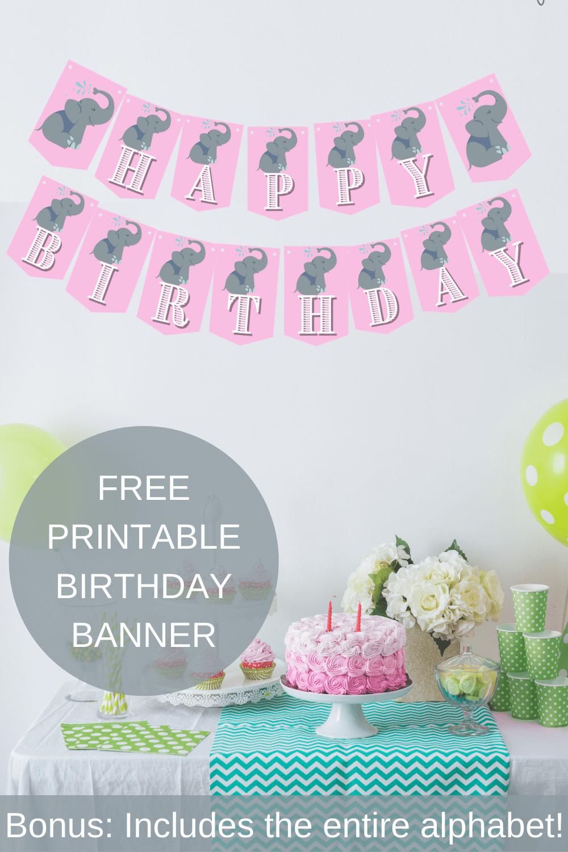 elephant 1st birthday banner