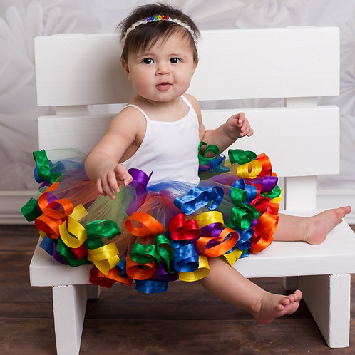 rainbow tutu on baby girl