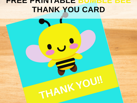 Bumble Bee Thank You Card | Free Printable Birthday Party | DIY Bumble Bee Themed Thank You Note