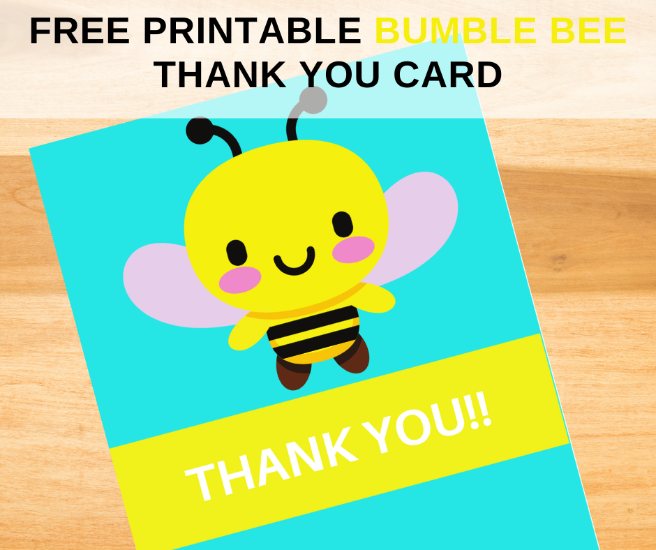 bumble bee thank you card for a toddler girl