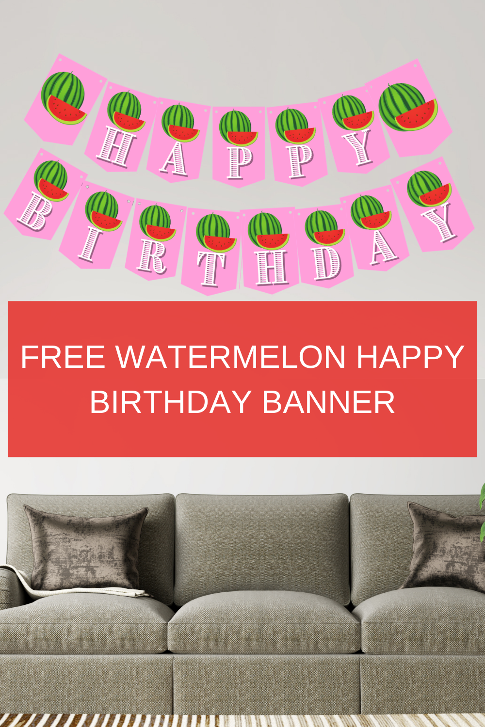 pink and green watermelon birthday party decorations