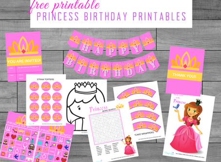 Princess Birthday Party Printables | Freebies | Download and Print Now | Banner | Coloring Pages...