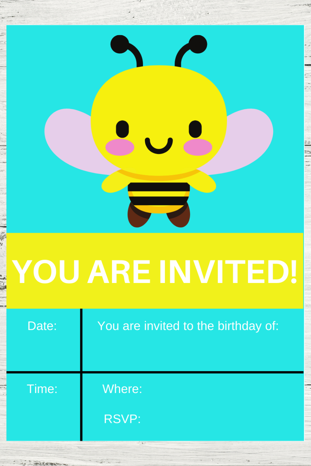 bumble bee birthday party invitation for a 1st birthday party
