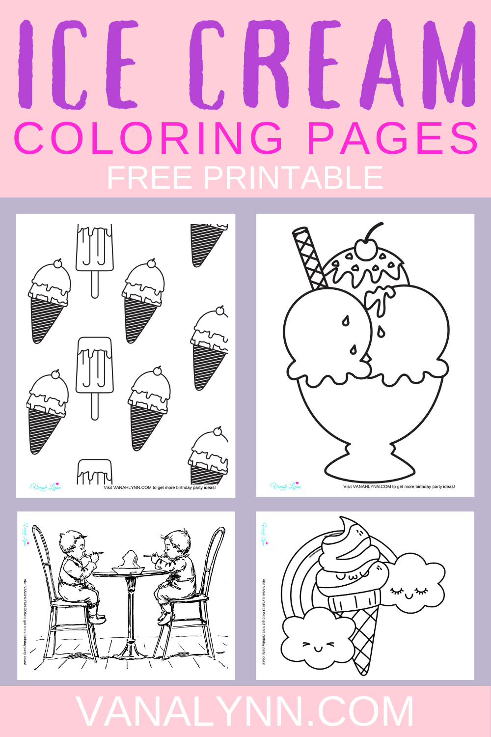 free download: ice cream coloring pages for an ice cream 1st birthday party