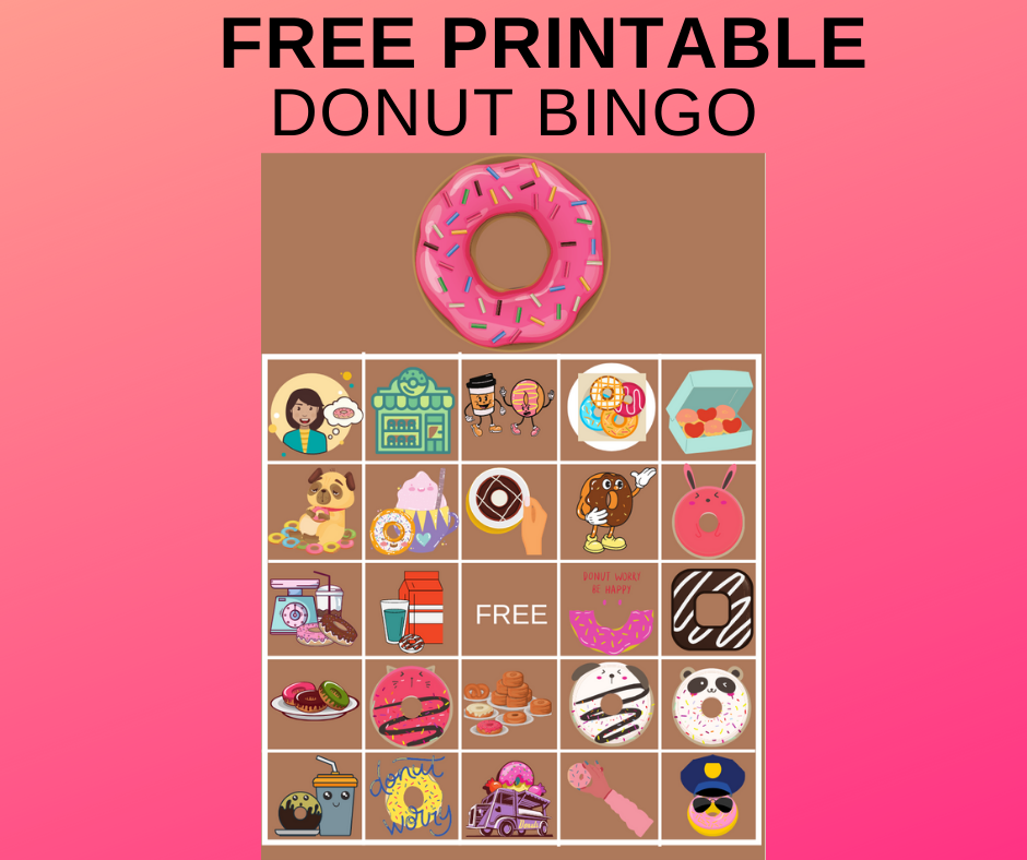 donut birthday party game ideas - bingo