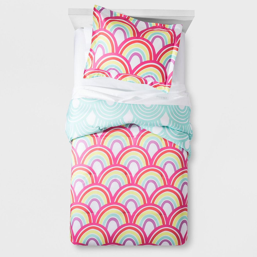 Rainbow themed bedding set