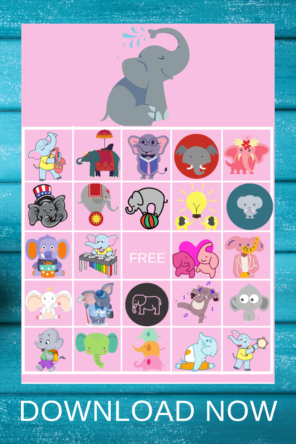 free printable elephant themed 1st birthday party games
