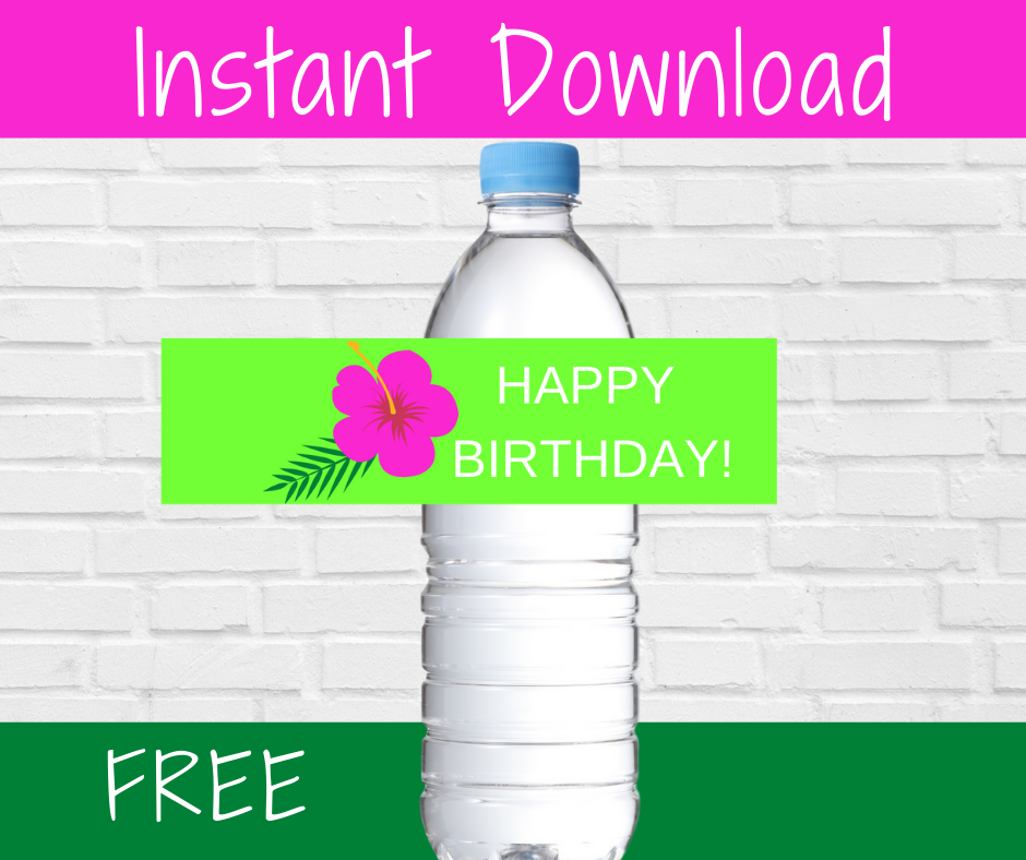 tropical water bottle label for girl birthday party