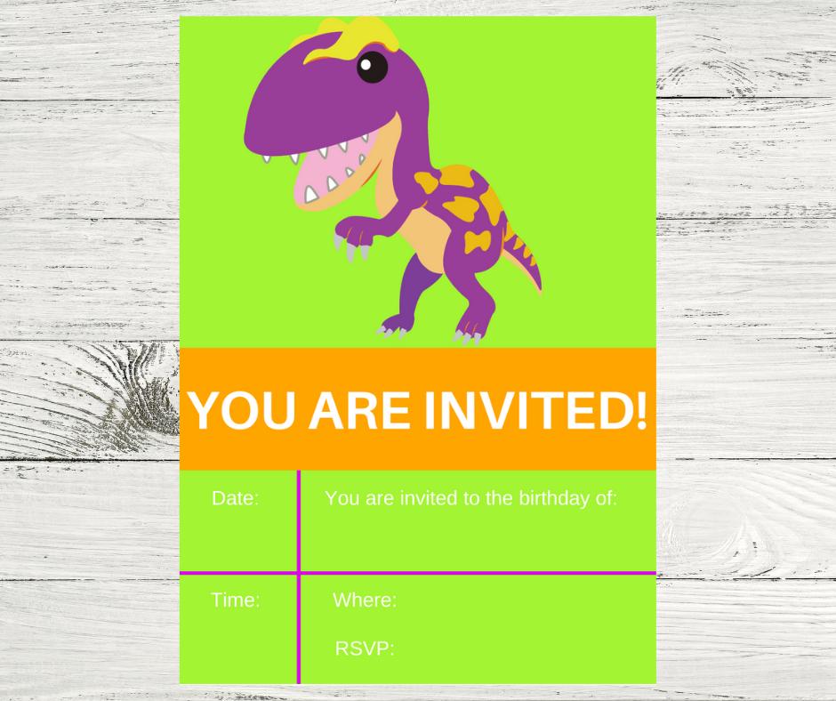 free printable dinosaur invitation for a kids birthday party
