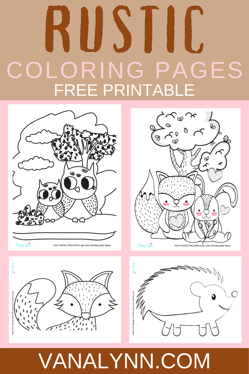 free printable rustic themed coloring pages for a birthday party