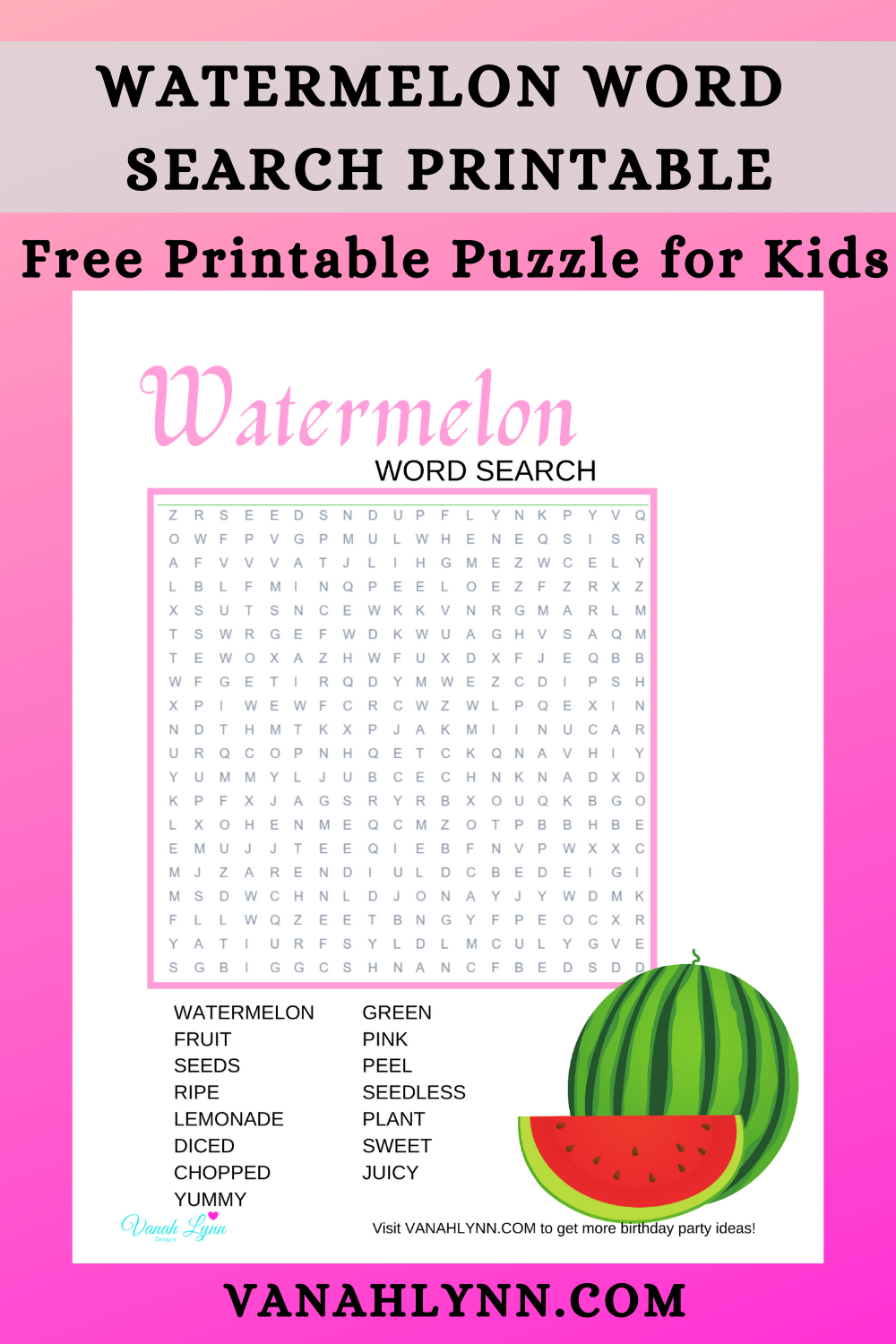 watermelon puzzle for child - birthday party activities