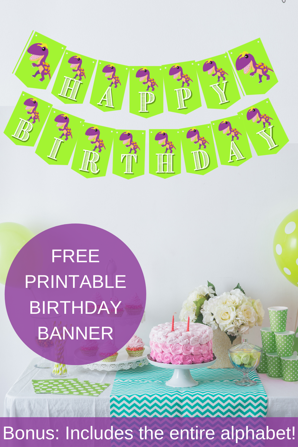 Free printable dinosaur banner for a little girls birthday party