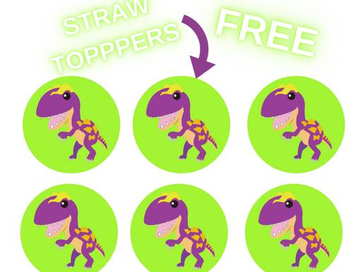 Dinosaur Straw Toppers | Free Printable Dinosaur Themed Birthday Party Ideas | DIY Dinosaur Décor