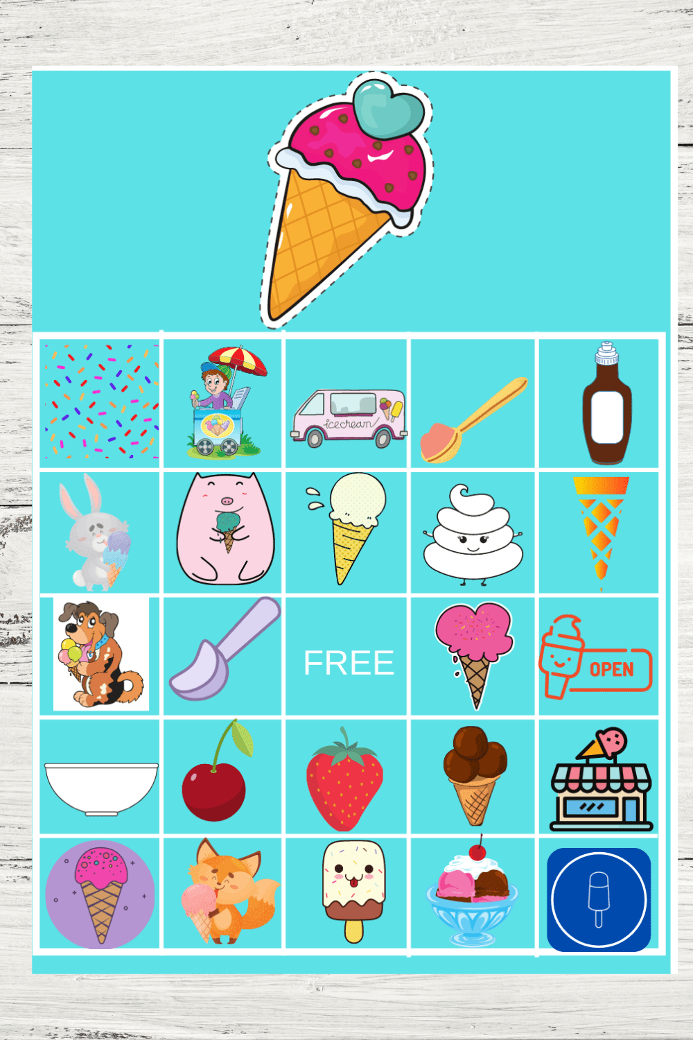 ice cream bingo printable free