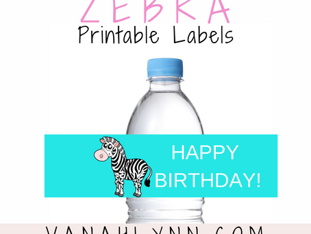 Zebra Water Bottle Label | Free Printable Zebra Themed Birthday Party Ideas | DIY Party Decorations