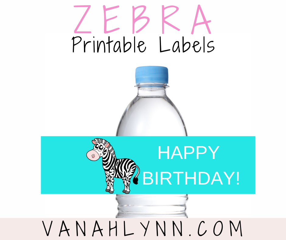 zebra water bottle label for a kids birthday party