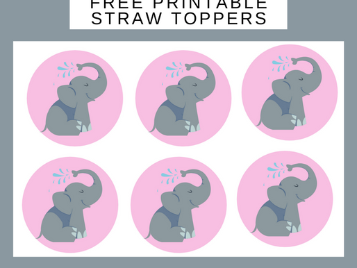Elephant Straw Toppers | Free Printable Elephant Themed Birthday Party Ideas | DIY Elephant Décor