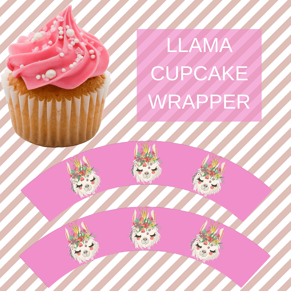 llama birthday party theme cupcake wrappers