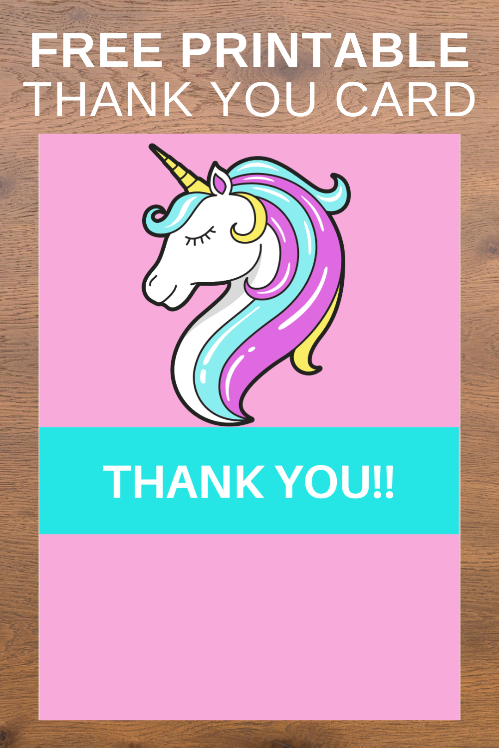 first birthday unicorn birthday party thank you card