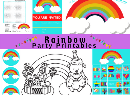 Rainbow Party Printables | Free Printable Rainbow Party Pack | Invitation | BINGO | Cupcake Wrappers