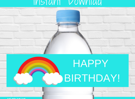 Rainbow Themed Water Bottle Label | Happy Birthday Free Printable