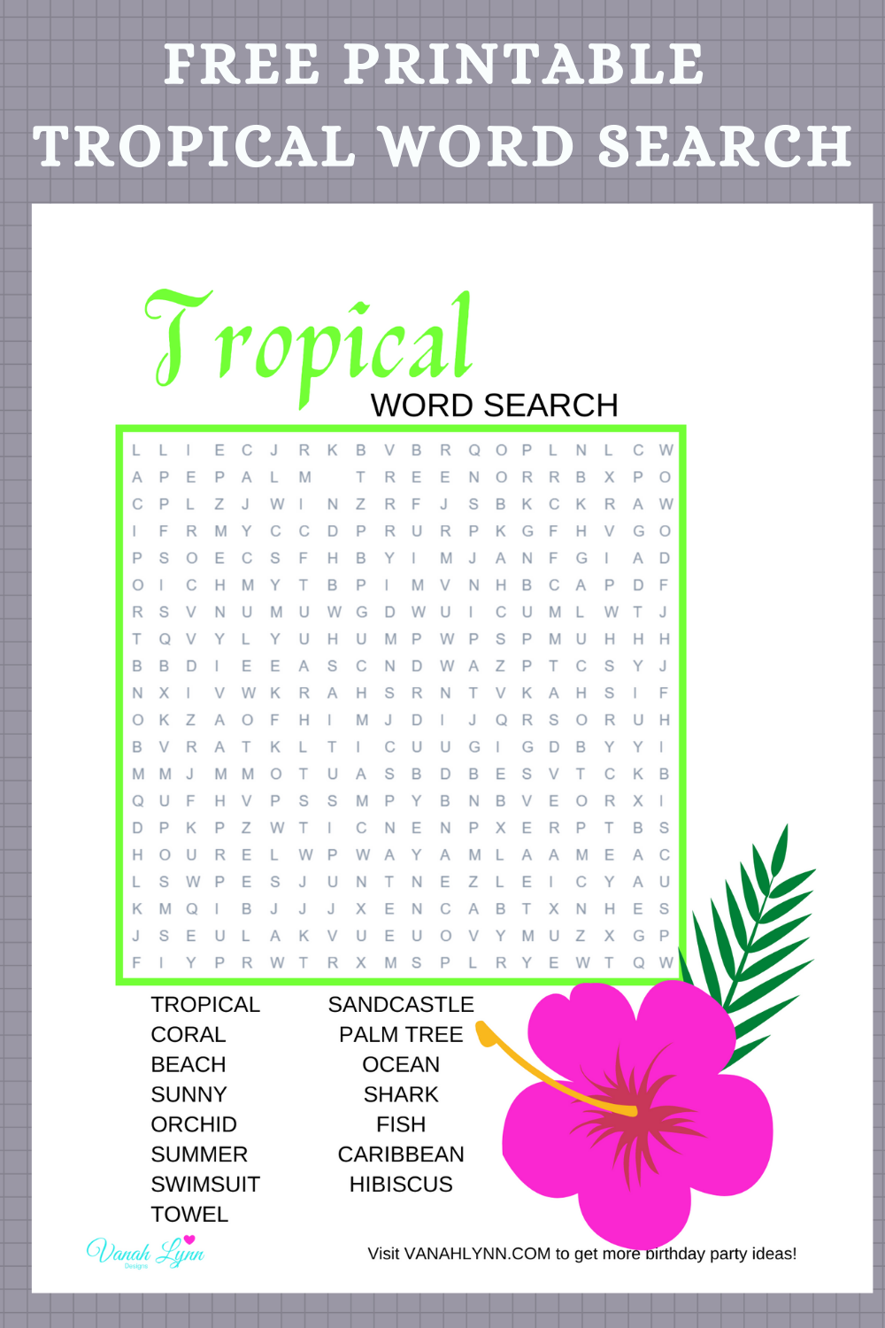 free download: tropical birthday party games for kids