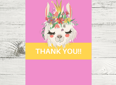 Llama Thank You Card | Freebie