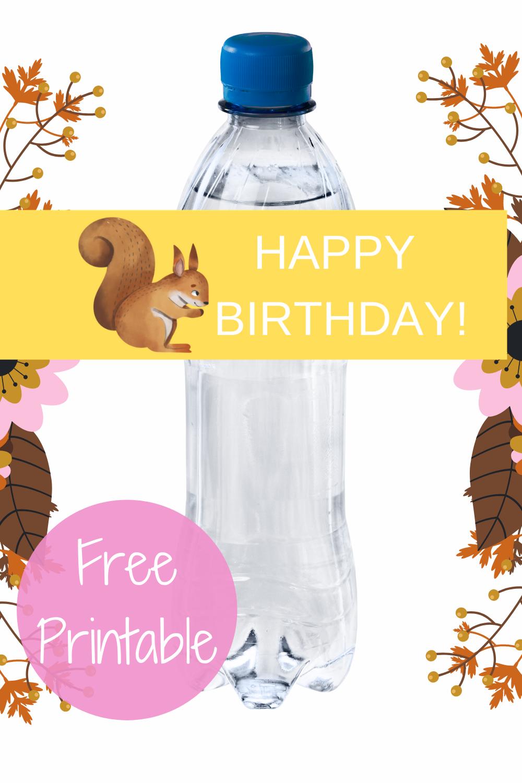 girls woodland 1st birthday water bottle label