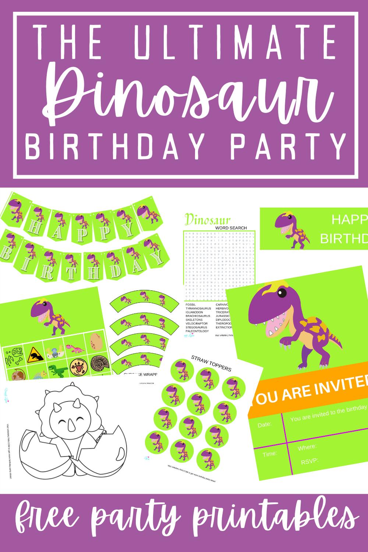 free printable dinosaur birthday party ideas