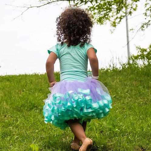 aqua and lavender tutu skirt on toddler girl
