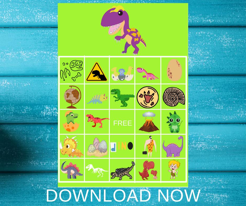 dinosaur bingo game for little girls birthday party