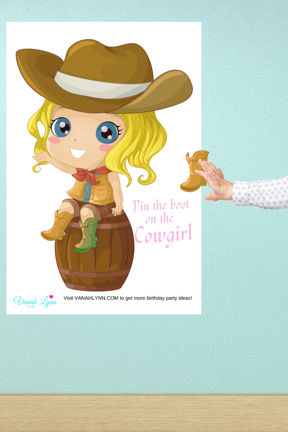 pin the boot on the cowgirl birthday party game