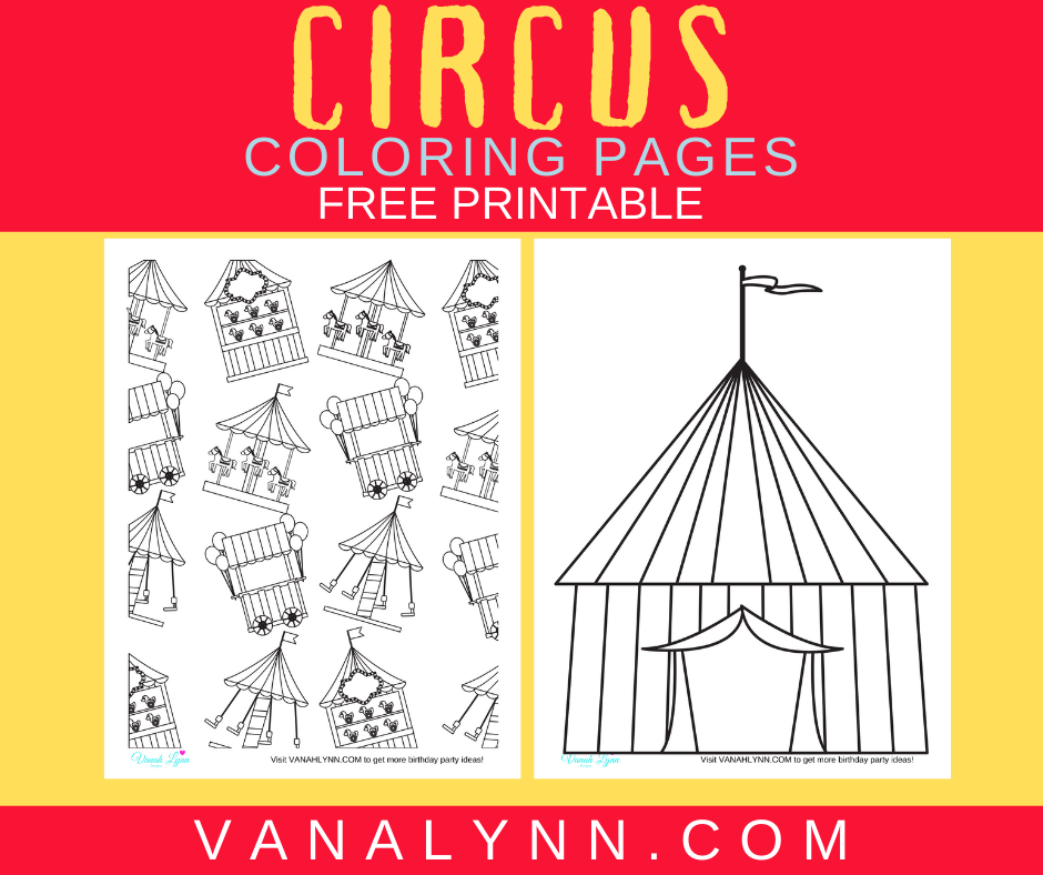 circus themed coloring pages for a birthday party