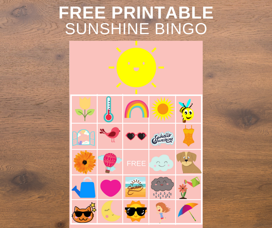 sunshine themed bingo game for a birthday party