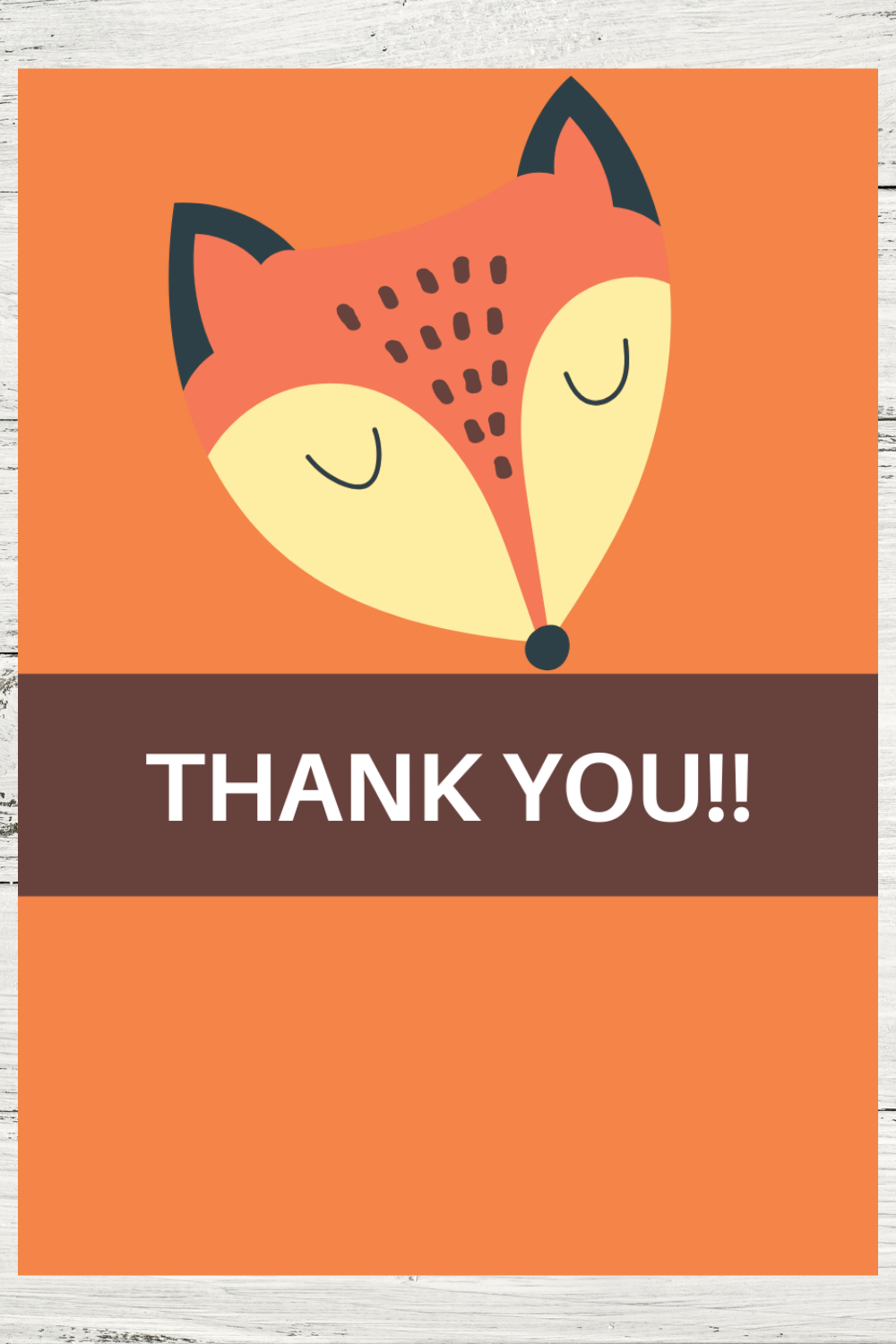 free printable fox thank you card for a toddlers birthday party