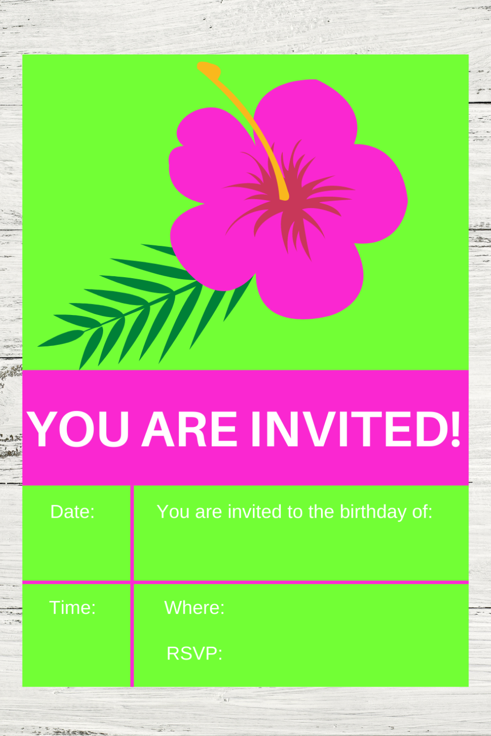tropical birthday party invite card for a kids birthday party