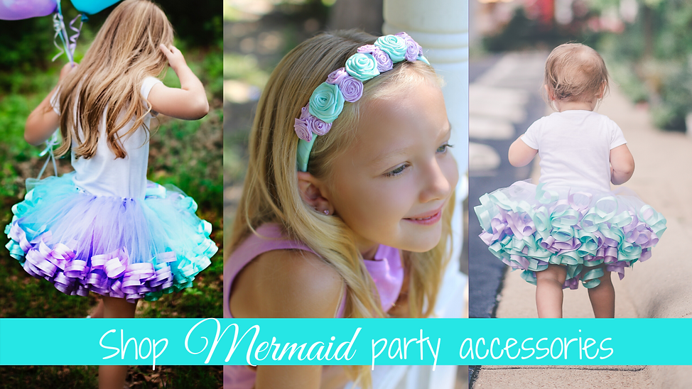 Shop our selection of mermaid party accessories | headbands & tutus