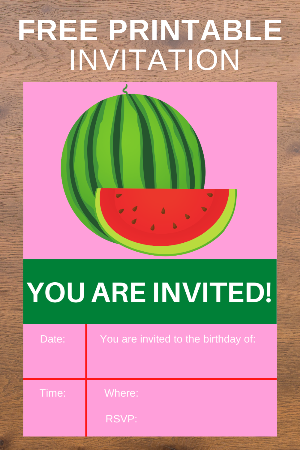watermelon themed birthday party invitation for little girls
