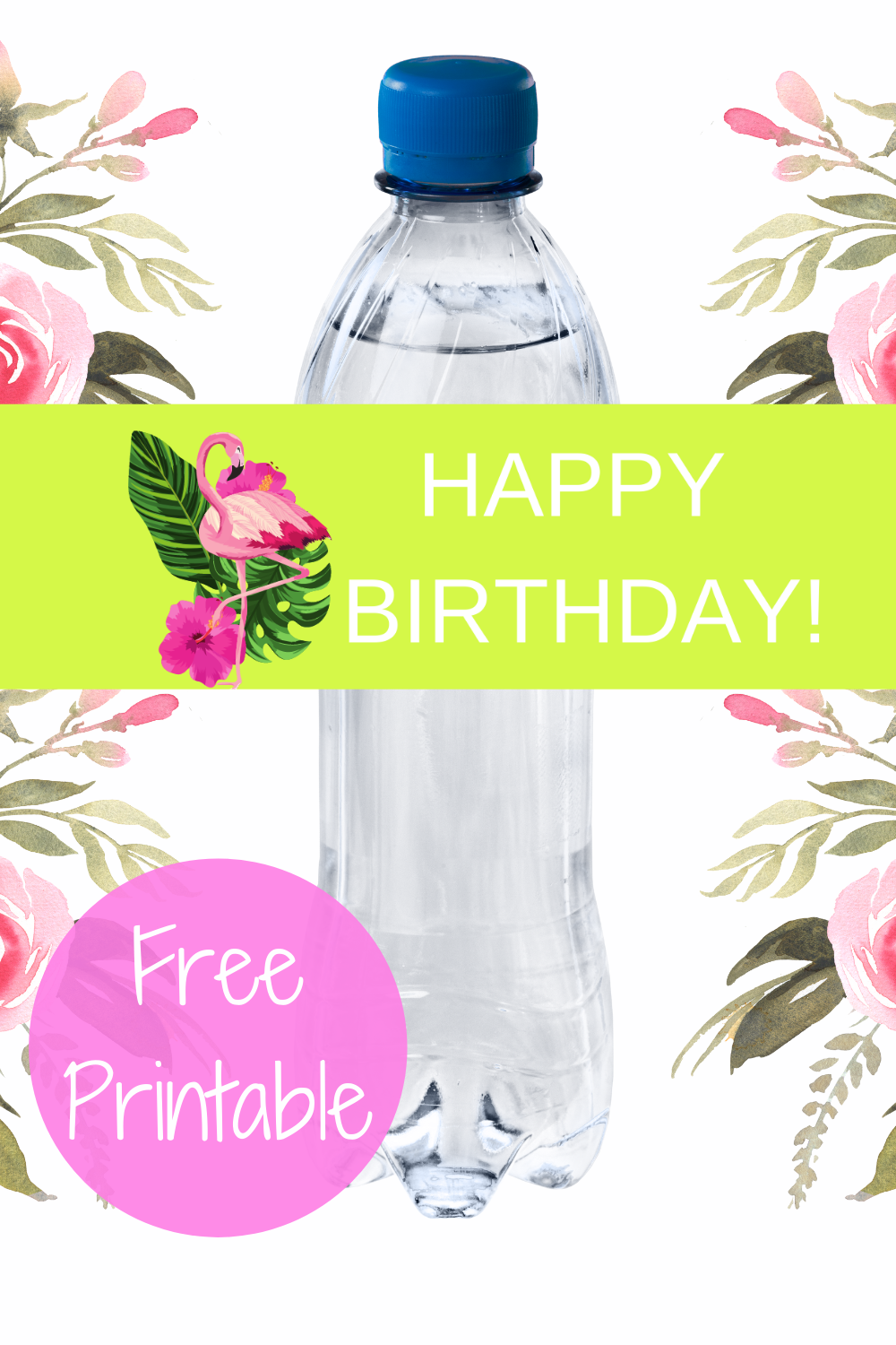 tropical flamingo first birthday water bottle label