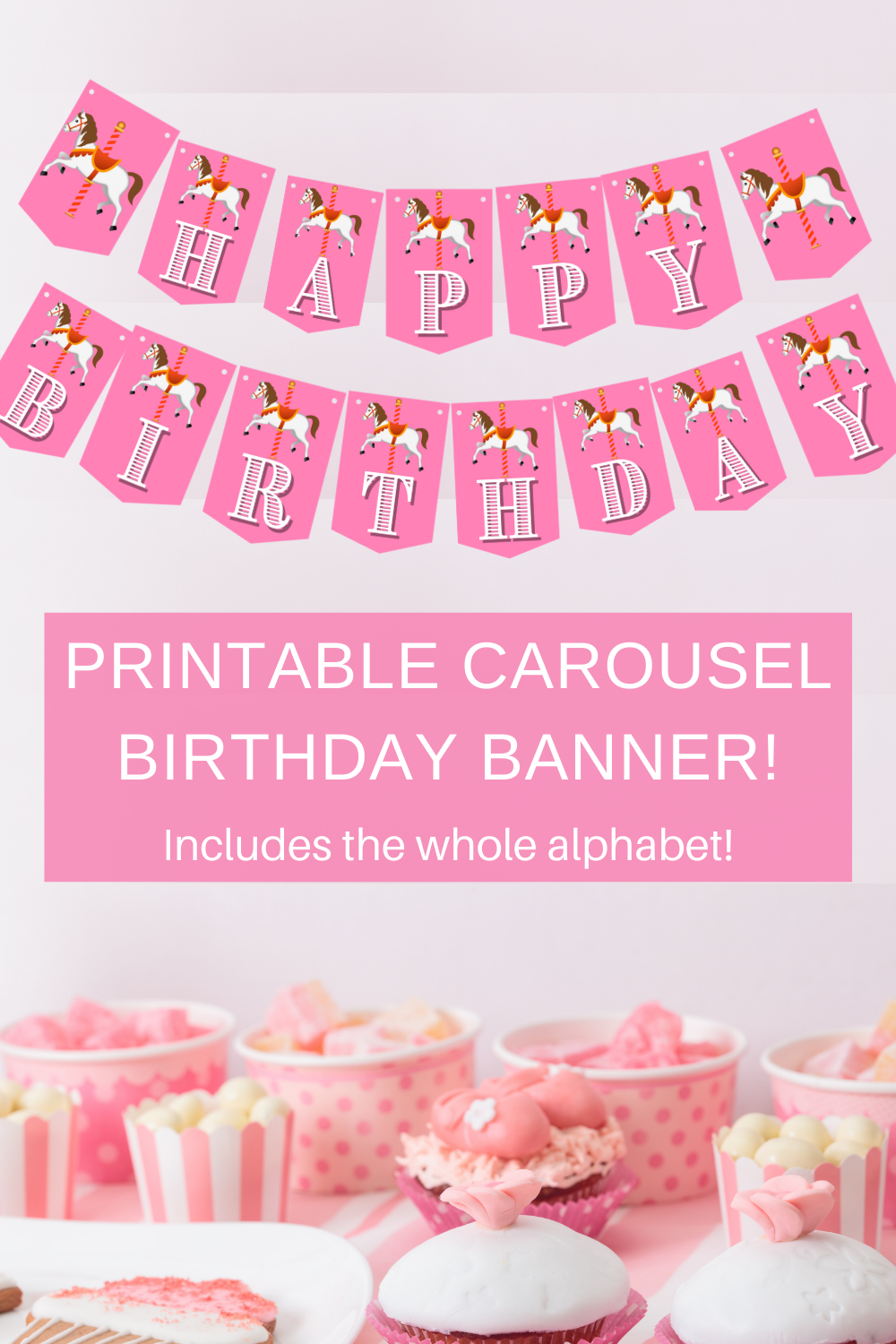 pink birthday party décor, with a carousel horse on it