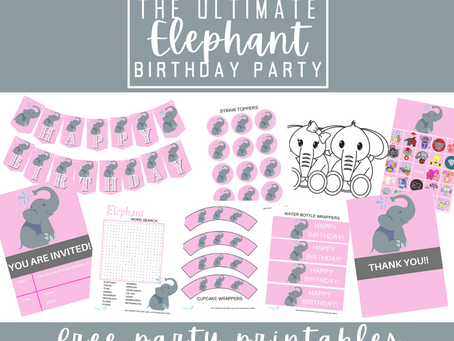 Elephant Party Kit | Free Printable Elephant Birthday Party Ideas | Elephant Décor, Games & Invite