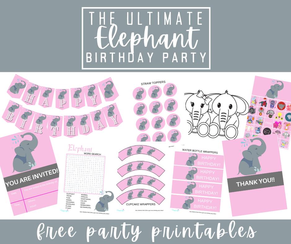 free printable elephant party kit