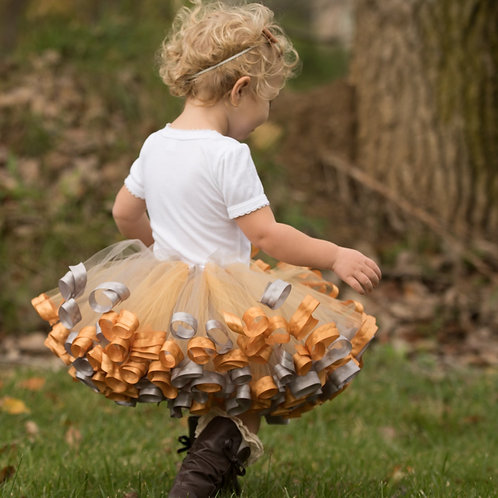 silver and gold tutu at thanksgiving photoshoot