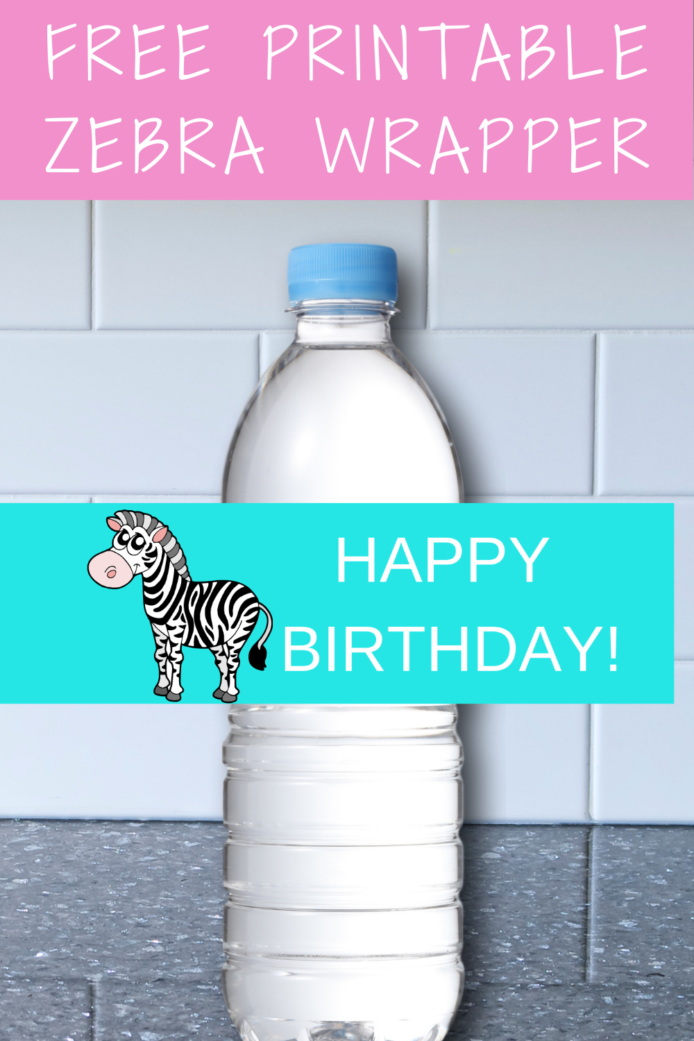 girls zebra 1st birthday party water bottle label