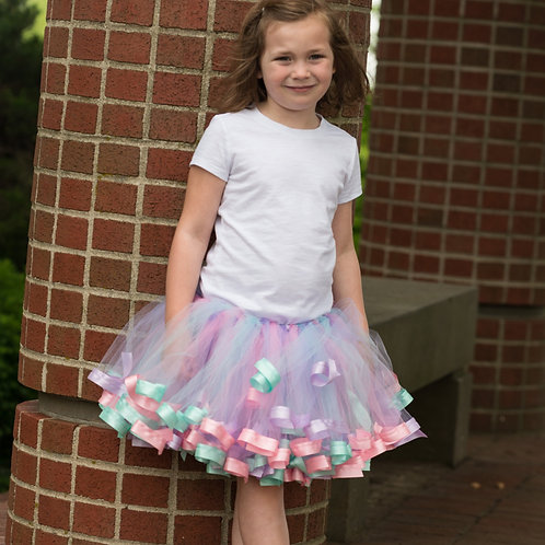 pastel tutu skirt on big girl