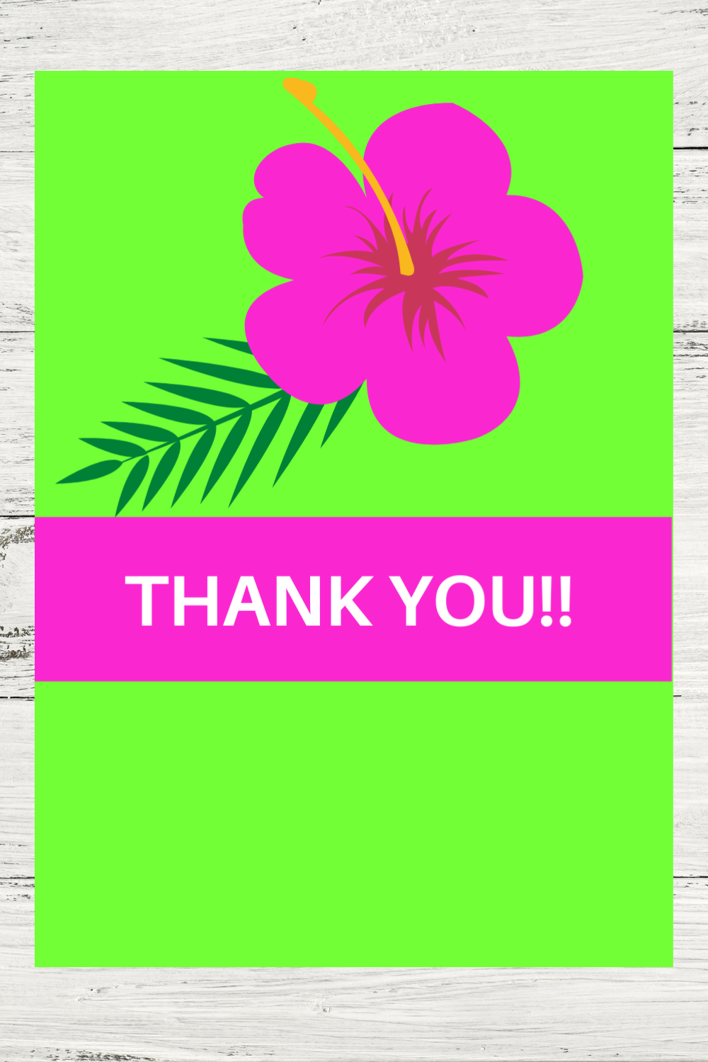 free printable tropical thank you note for kids birthday party