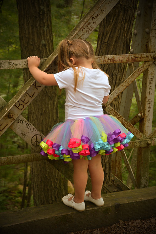 rainbow unicorn birthday tutu on little girl