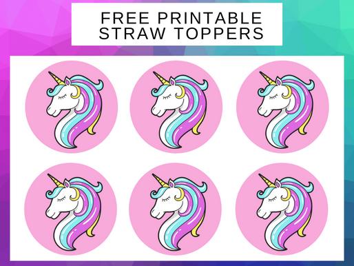 Unicorn Straw Toppers   Free Printable Unicorn Birthday Party Ideas   DIY Unicorn Themed Decorations