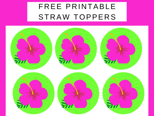 Tropical Themed Birthday Party Decorations - FREE Printable Straw Toppers