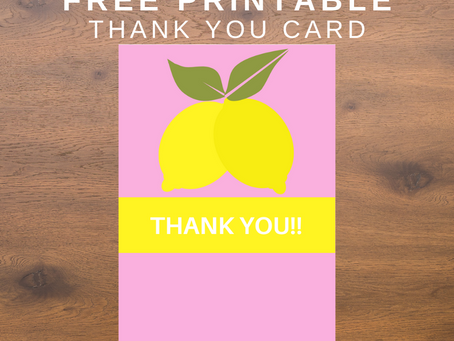 Lemonade Thank You Card | Free Printable Lemon Thank You Note | DIY Lemonade Themed Party Ideas